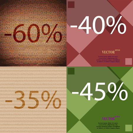 40 45: 40, 35, 45 icon. Set of percent discount on abstract backgrounds. Vector illustration