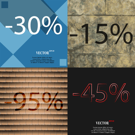 95: 15, 95, 45 icon. Set of percent discount on abstract backgrounds. Vector illustration Illustration