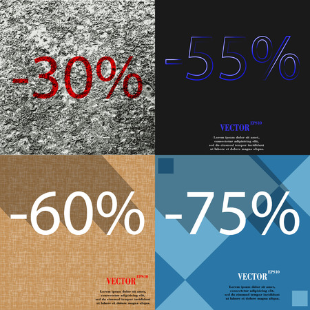 55 60: 55, 60, 75 icon. Set of percent discount on abstract backgrounds. Vector illustration