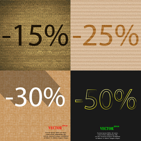 25 30: 25, 30, 50 icon. Set of percent discount on abstract backgrounds. Vector illustration