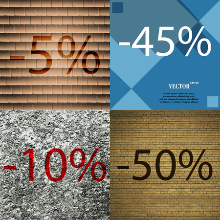 45 50: 45, 10, 50 icon. Set of percent discount on abstract backgrounds. Vector illustration