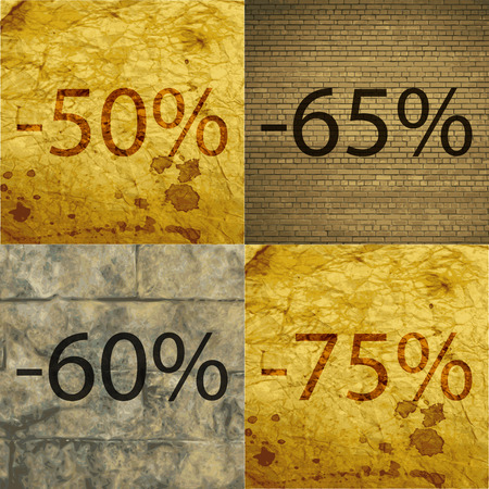 60 65: 65, 60, 75 icon. Set of percent discount on abstract backgrounds. Vector illustration