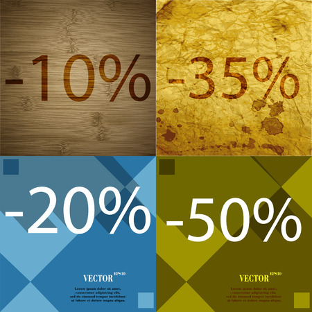 35: 35, 20, 50 icon. Set of percent discount on abstract backgrounds. Vector illustration Illustration