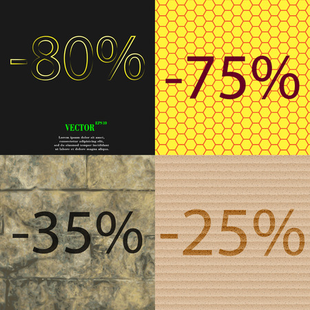 25 35: 75, 35, 25 icon. Set of percent discount on abstract backgrounds. Vector illustration