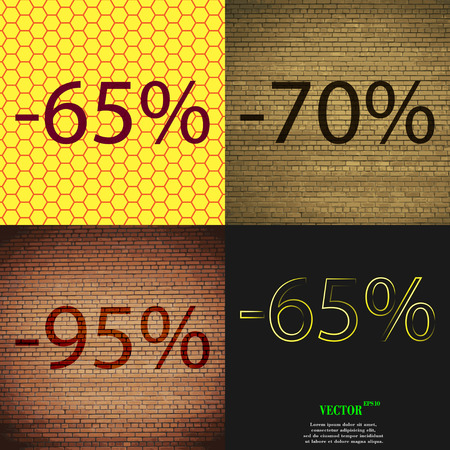 65 70: 70, 95, 65 icon. Set of percent discount on abstract backgrounds. Vector illustration Illustration