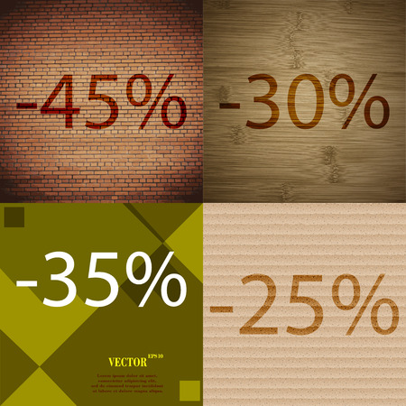 30 to 35: 30, 35, 25 icon. Set of percent discount on abstract backgrounds. Vector illustration Illustration