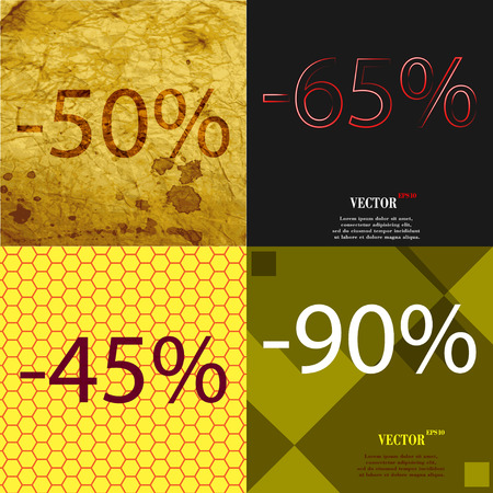 65: 65, 45, 90 icon. Set of percent discount on abstract backgrounds. Vector illustration