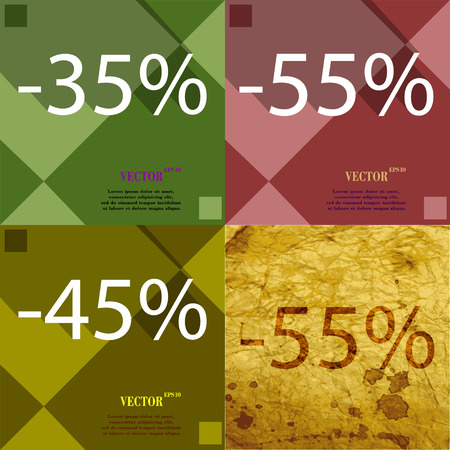 45: 55, 45,  icon. Set of percent discount on abstract backgrounds. Vector illustration