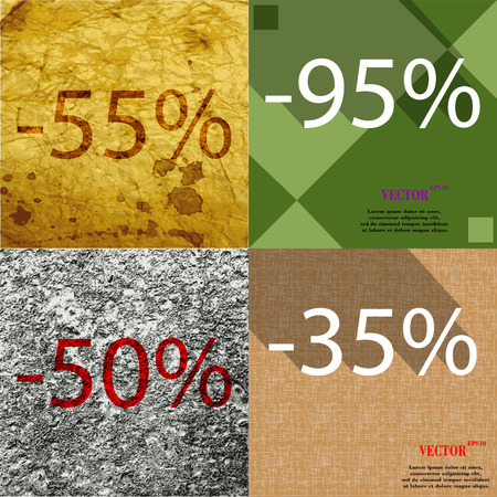 95: 95, 35, 50 icon. Set of percent discount on abstract backgrounds. Vector illustration Illustration