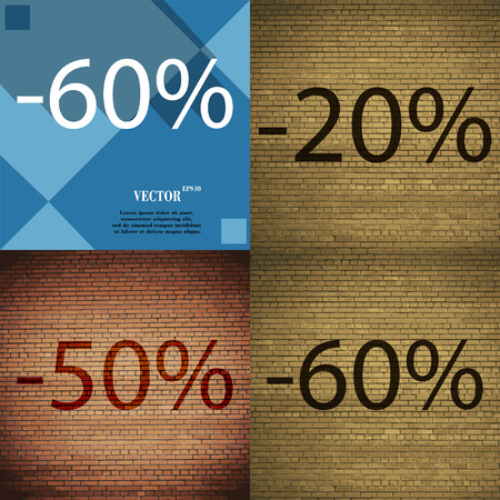 50 to 60: 20, 50, 60 icon. Set of percent discount on abstract backgrounds. Vector illustration Illustration