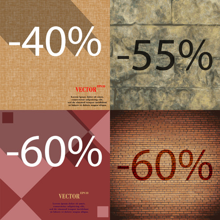 55 60: 55, 60 icon. Set of percent discount on abstract backgrounds. Vector illustration