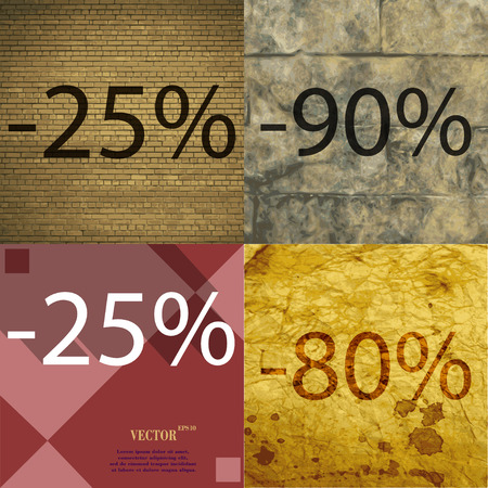 80 90: 90, 25, 80 icon. Set of percent discount on abstract backgrounds. Vector illustration Illustration
