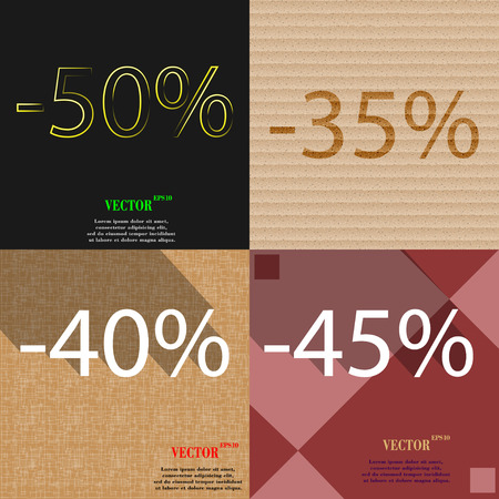 40 45: 35, 40, 45 icon. Set of percent discount on abstract backgrounds. Vector illustration