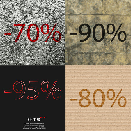 95: 90, 95, 80 icon. Set of percent discount on abstract backgrounds. Vector illustration Illustration