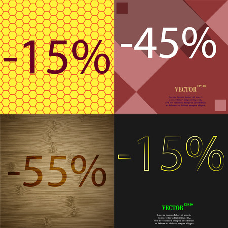 45: 45, 55, 15 icon. Set of percent discount on abstract backgrounds. Vector illustration Illustration