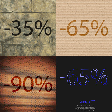 65: 65, 90,  icon. Set of percent discount on abstract backgrounds. Vector illustration Illustration