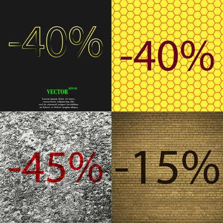 40 45: 40, 45, 15 icon. Set of percent discount on abstract backgrounds. Vector illustration Illustration