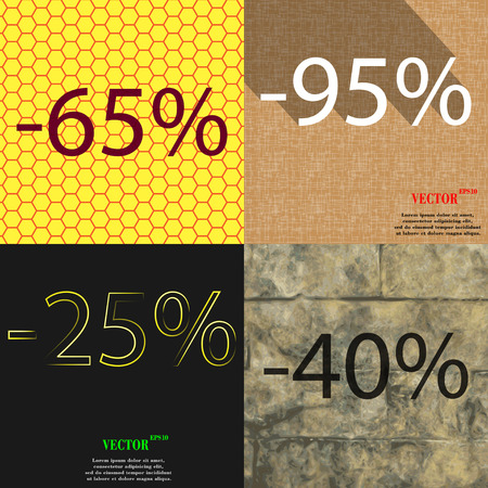 95: 95, 25, 40 icon. Set of percent discount on abstract backgrounds. Vector illustration Illustration