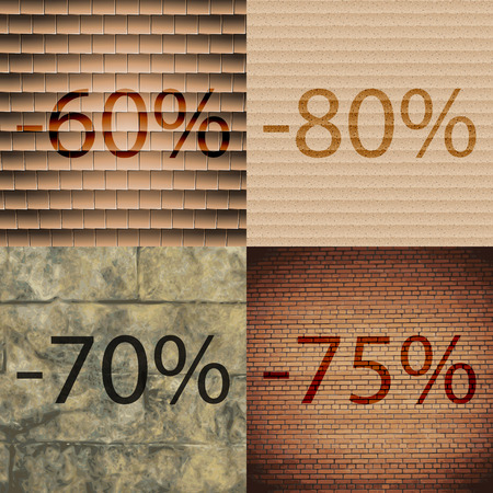 75 80: 80, 70, 75 icon. Set of percent discount on abstract backgrounds. Vector illustration Illustration