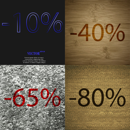 65: 40, 65, 80 icon. Set of percent discount on abstract backgrounds. Vector illustration