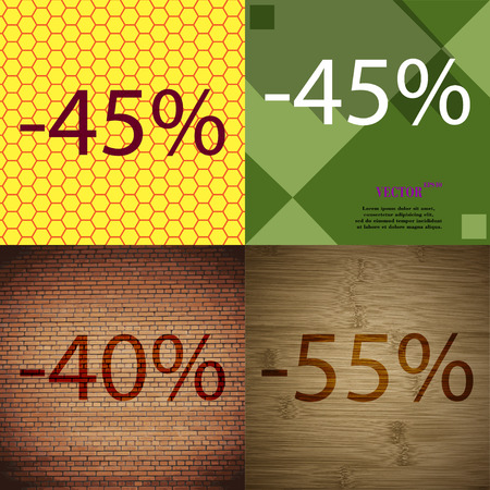 40 45: 45, 40, 55 icon. Set of percent discount on abstract backgrounds. Vector illustration