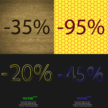 95: 95, 250, 45 icon. Set of percent discount on abstract backgrounds. Vector illustration