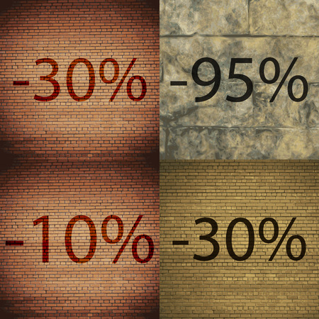 95: 95, 10, 30 icon. Set of percent discount on abstract backgrounds. Vector illustration