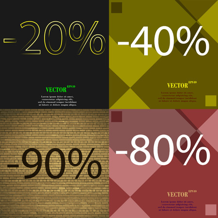 80 90: 40, 90, 80 icon. Set of percent discount on abstract backgrounds. Vector illustration