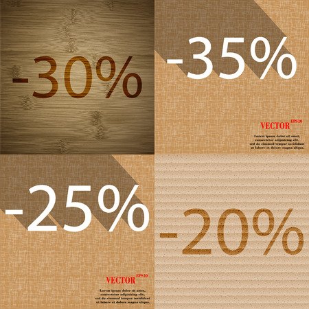 25 35: 35, 25, 20 icon. Set of percent discount on abstract backgrounds. Vector illustration