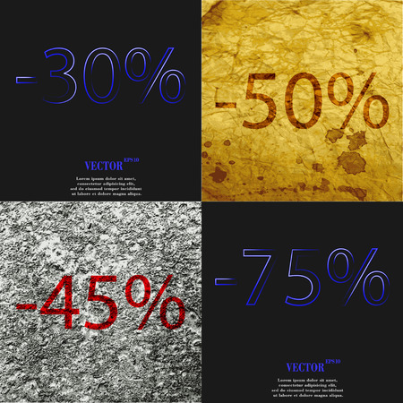 45 50: 50, 45, 75 icon. Set of percent discount on abstract backgrounds. Vector illustration