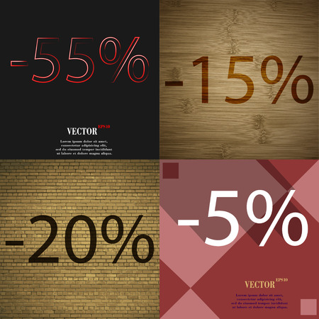 15 to 20: 15, 20, 5 icon. Set of percent discount on abstract backgrounds. Vector illustration