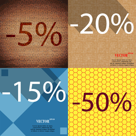 15 20: 20, 15, 50 icon. Set of percent discount on abstract backgrounds. Vector illustration