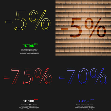 70 75: 5, 75, 70 icon. Set of percent discount on abstract backgrounds. Vector illustration