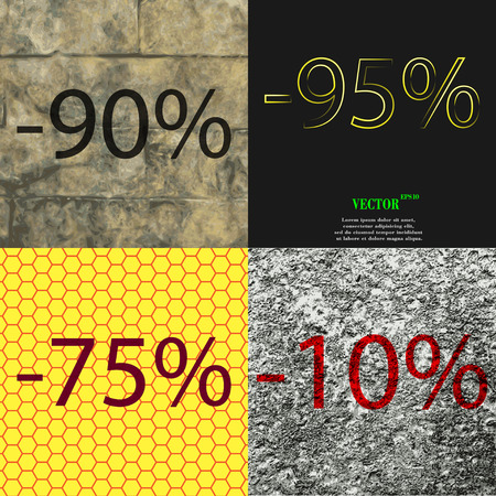95: 95, 75, 10 icon. Set of percent discount on abstract backgrounds. Vector illustration