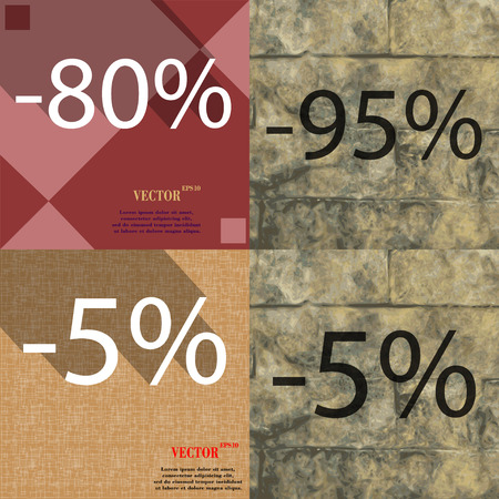 95: 95, 5 icon. Set of percent discount on abstract backgrounds. Vector illustration