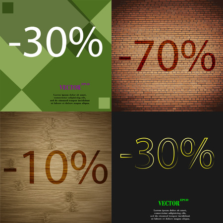 ten best: 70, 10, 30 icon. Set of percent discount on abstract backgrounds. Vector illustration
