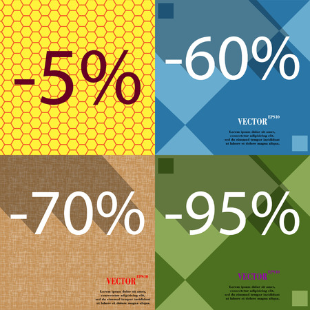 95: 60, 70, 95 icon. Set of percent discount on abstract backgrounds. Vector illustration