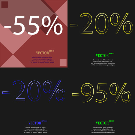 95: 20, 95 icon. Set of percent discount on abstract backgrounds. Vector illustration