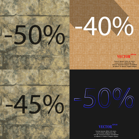 40 45: 40, 45, 50 icon. Set of percent discount on abstract backgrounds. Vector illustration Illustration
