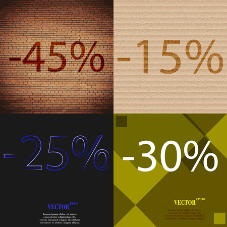 25 to 30: 15, 25, 30 icon. Set of percent discount on abstract backgrounds. Vector illustration