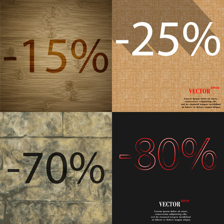 70 80: 25, 70, 80 icon. Set of percent discount on abstract backgrounds. Vector illustration