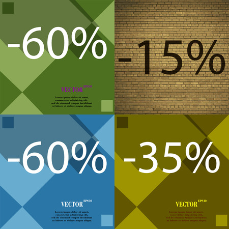 35: 15, 60, 35 icon. Set of percent discount on abstract backgrounds. Vector illustration