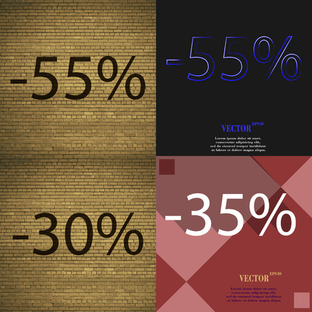 30 to 35: 55, 30, 35 icon. Set of percent discount on abstract backgrounds. Vector illustration