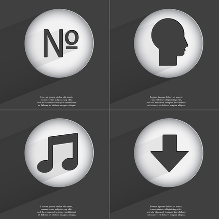 directed: Number, Silhouette, Note, Arrow directed down icon sign. Set of buttons with a flat design. Vector illustration