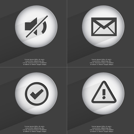 accelerated: Mute, Message, Tick, Warning icon sign. Set of buttons with a flat design. Vector illustration Stock Photo