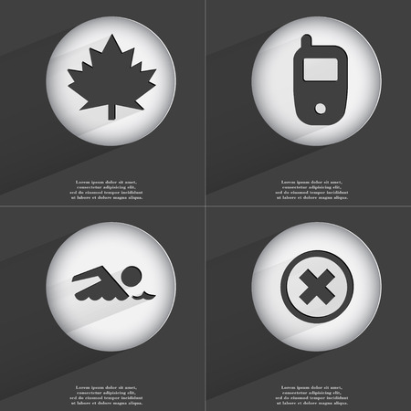 accelerated: Maple leaf, Mobile phone, Swimmer, Stop icon sign. Set of buttons with a flat design. Vector illustration