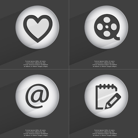 videotape: Heart, Videotape, Mail, Notebook icon sign. Set of buttons with a flat design. Vector illustration