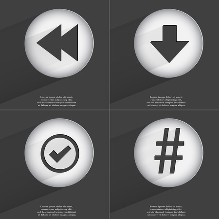 accelerated: Rewind, Arrow directed down, Tick, Hashtag icon sign. Set of buttons with a flat design. Vector illustration