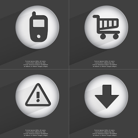 accelerated: Mobile phone, Shopping cart, Warning, Arrow directed down icon sign. Set of buttons with a flat design. Vector illustration