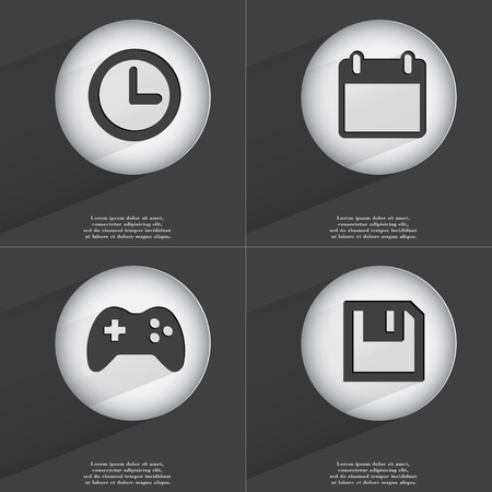 accelerated: Clock, Calendar, Gamepad, Floppy disk icon sign. Set of buttons with a flat design. Vector illustration